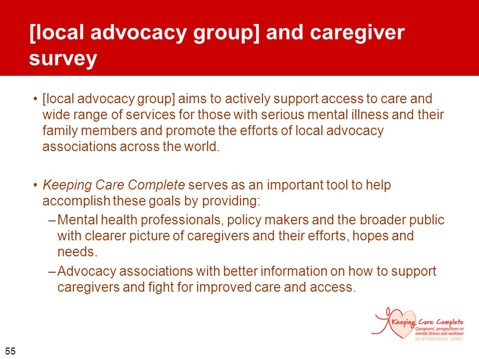 [local advocacy group] and caregiver survey